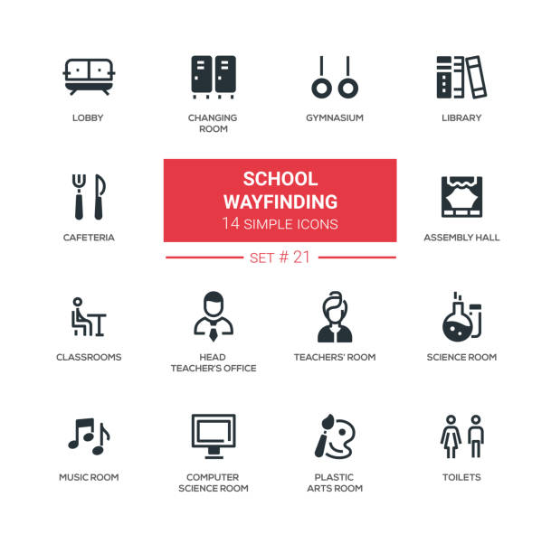 school wayfinding - modern simple icons, pictograms set - wayfinding icons stock illustrations, clip art, cartoons, & icons