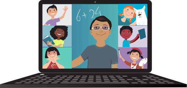 ilustrações, clipart, desenhos animados e ícones de a escola entrou na internet - professor