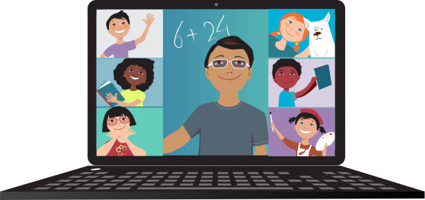 School went online Elementary school teacher conducting a lesson via video chat with his students, EPS 8 vector illustration zoom stock illustrations