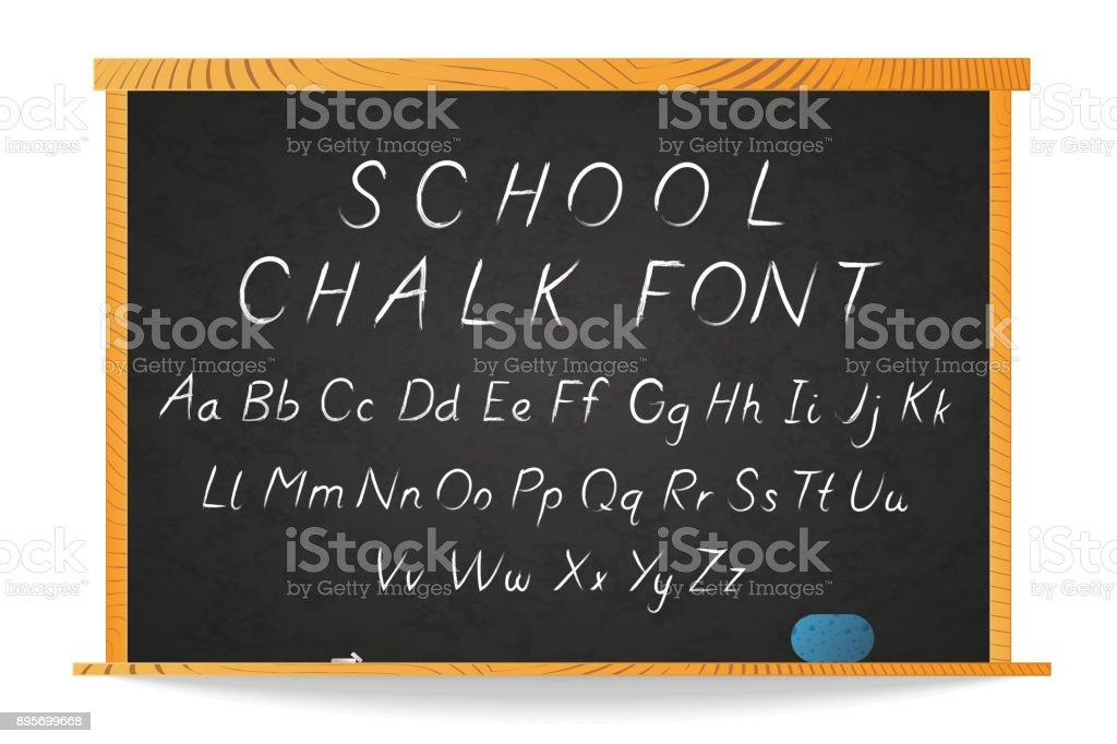 Schule Weiße Kreide Handgezeichneten Kursive Schrift Auf Tafel In ...
