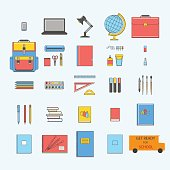 Set of school objects: eraser, pens, pencil, brush, ruler, notebook, globe, laptop, scissors, glue, lamp, schoolbag, desk. Get ready for school.