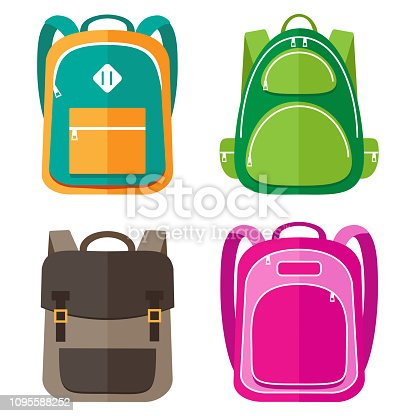 Vector set of kids school bags