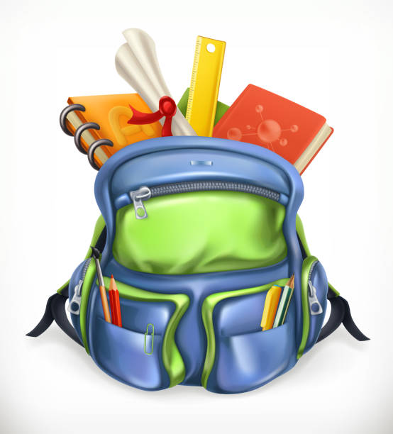 bildbanksillustrationer, clip art samt tecknat material och ikoner med skolväska. ryggsäck med skolmaterial, 3d vektor symbol - digital device classroom