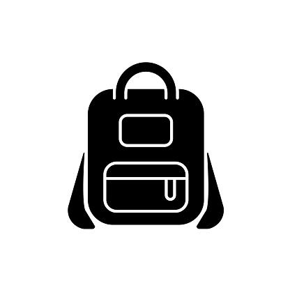 Schoolbag black glyph icon