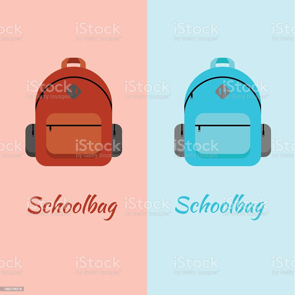 Schoolbag flat illustration. Bag for school vector art illustration