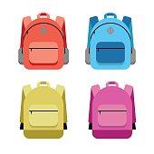Schoolbag flat illustration. Bag for school. Hipster