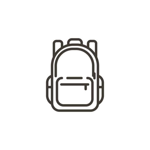 stockillustraties, clipart, cartoons en iconen met schooltas icoon. trendy moderne dunne lijn illustratie van een school rugzak tas. - schooltas