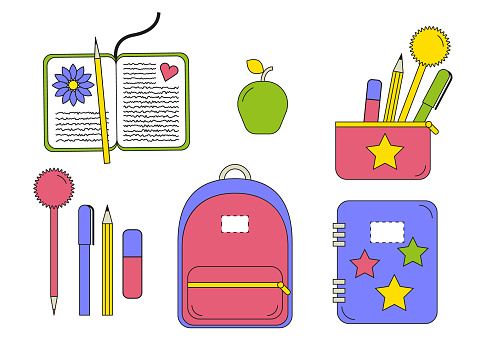 Schoolbag, pencil case, diary, notebook, pen, pencil and other school essentials. Back to school concept. Creative flat design icons set vector illustration isolated on white background.