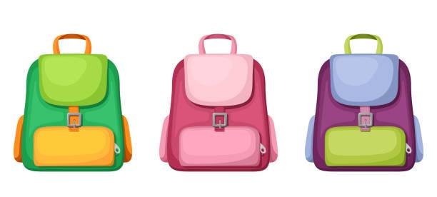 stockillustraties, clipart, cartoons en iconen met schooltassen. vectorillustratie. - schooltas