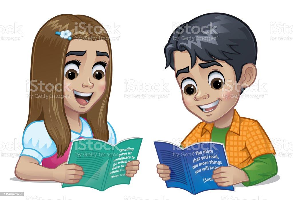 Schüler und Schülerin ein Buch zu lesen – Vektorgrafik