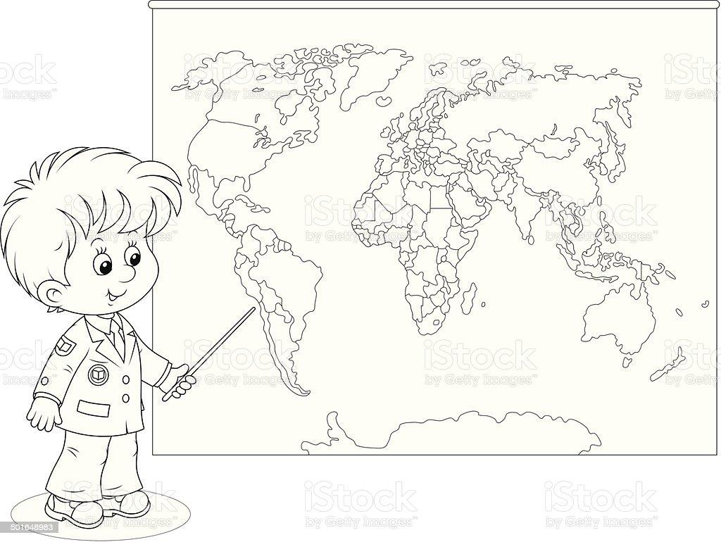 スクールボーイには世界地図 ぬりえブックのベクターアート素材や画像