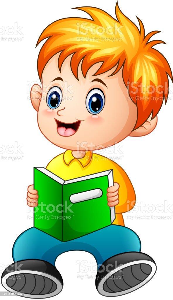 Ilustración De Dibujos Animados De Niño Leyendo Un Libro Y Más