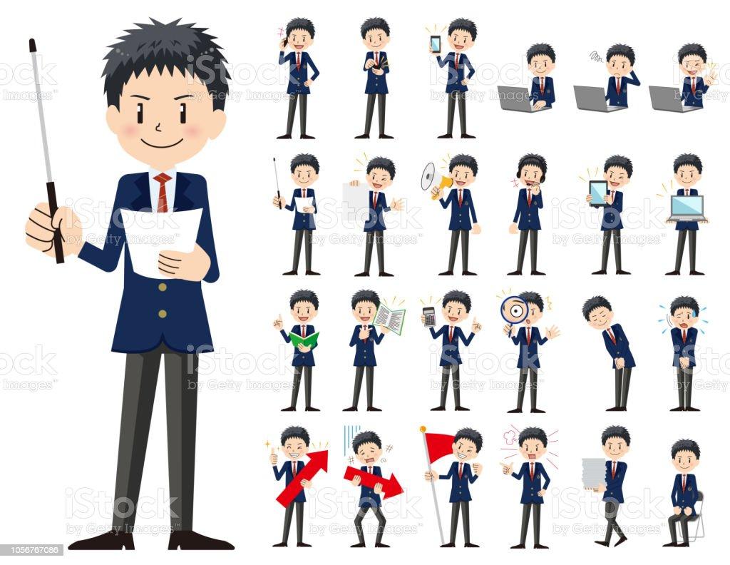 Schoolboy charactor set. Presenting in various action. vector art illustration