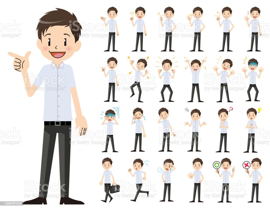 Schoolboy charactor set. Various poses and emotions. vector art illustration