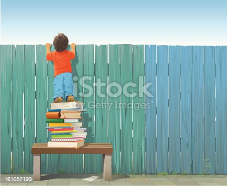 Schoolboy standing on a pile of books on a bench stretching himself to see what is on the other side of the fence. Included: AI8-EPS, AI8, PDF, JPG (A3+, 300 dpi) and transparent PNG (without sky) Every plank is grouped and individually drawn. The fence and the sidewalk are rendered completely for easy editing. All elements are grouped and on separate layers (Child, Books, Fence, Bench, Ground, Grass).