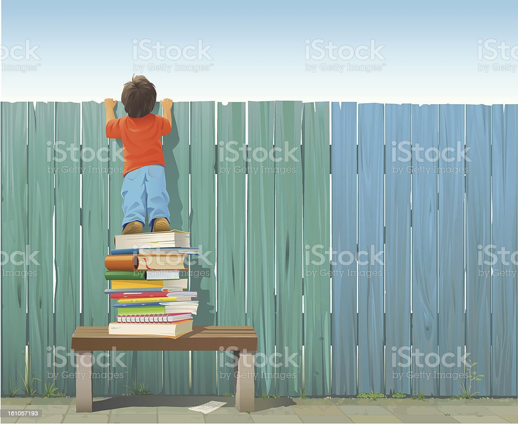 Schoolboy on pile of books looking over fence vector art illustration