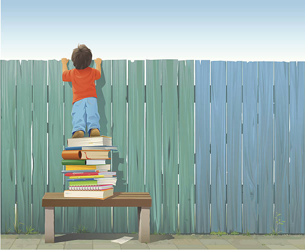 Schoolboy on pile of books looking over fence Schoolboy standing on a pile of books on a bench stretching himself to see what is on the other side of the fence. Included: AI8-EPS, AI8, PDF, JPG (A3+, 300 dpi) and transparent PNG (without sky) Every plank is grouped and individually drawn. The fence and the sidewalk are rendered completely for easy editing. All elements are grouped and on separate layers (Child, Books, Fence, Bench, Ground, Grass). curiosity stock illustrations
