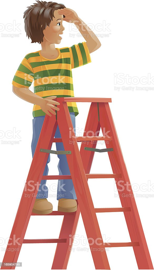 Schoolboy on Staircase Looking Out vector art illustration
