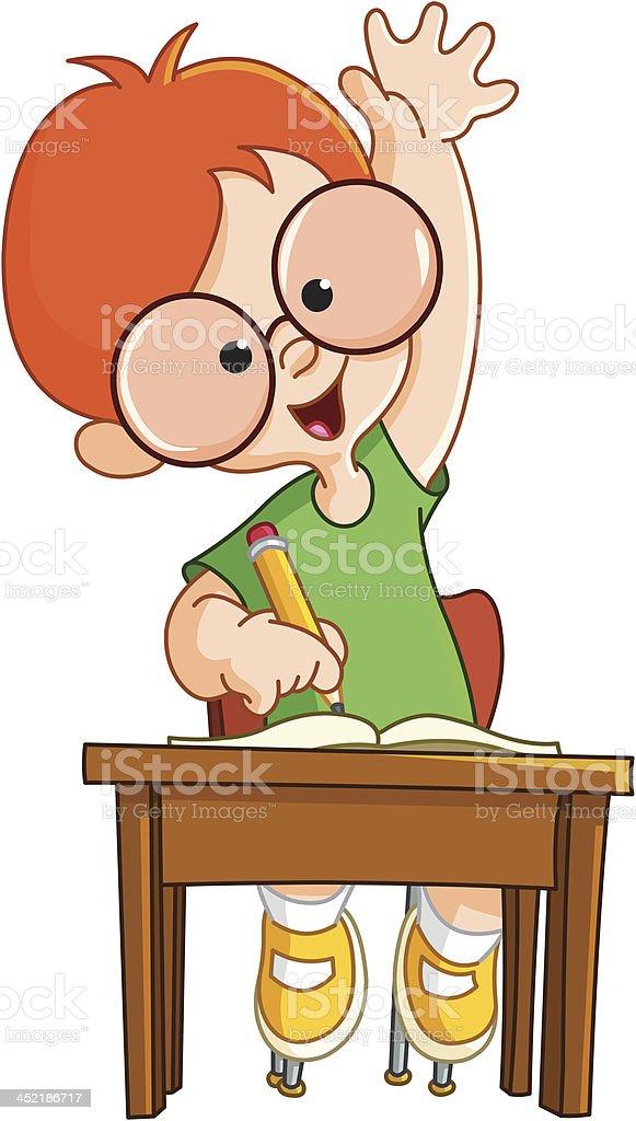 Schoolboy raising hand vector art illustration
