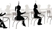 Students in an elementary class.  A boy and a girl are raising their hand to answer a question.  They are silhouettes in black with a grey background depicting the other students and desks where they sit.