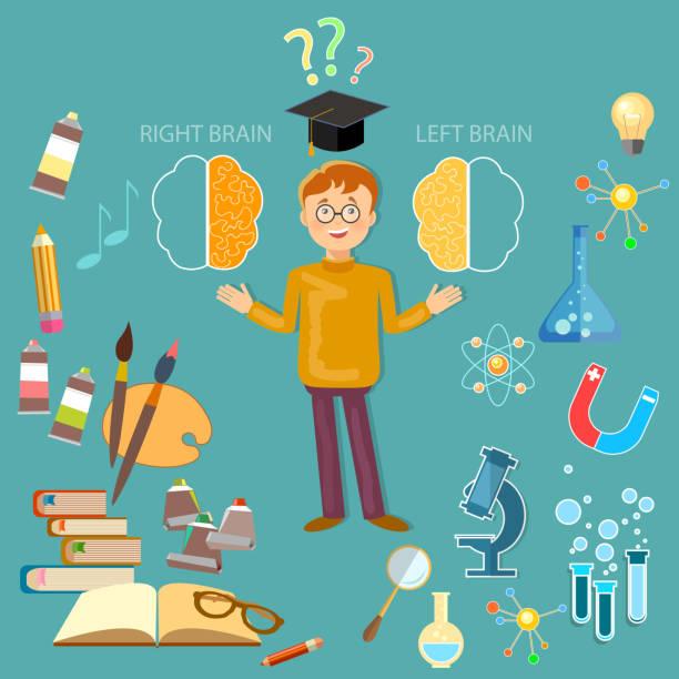 illustrazioni stock, clip art, cartoni animati e icone di tendenza di scolaro studiano sinistra e destra del cervello concetto vettoriale - mancino