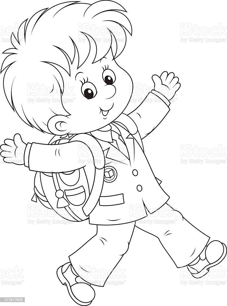 Schoolboy vector art illustration