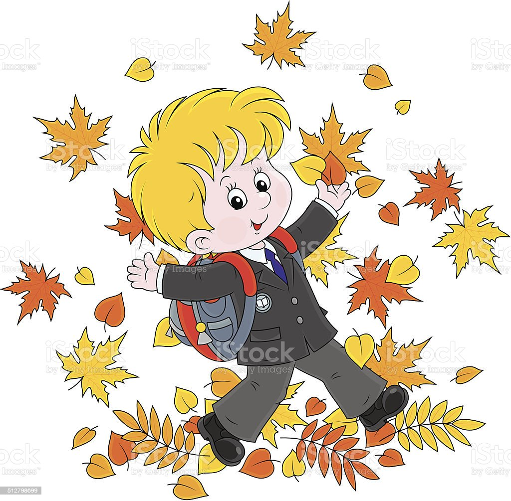 Schoolboy with autumn leaves vector art illustration