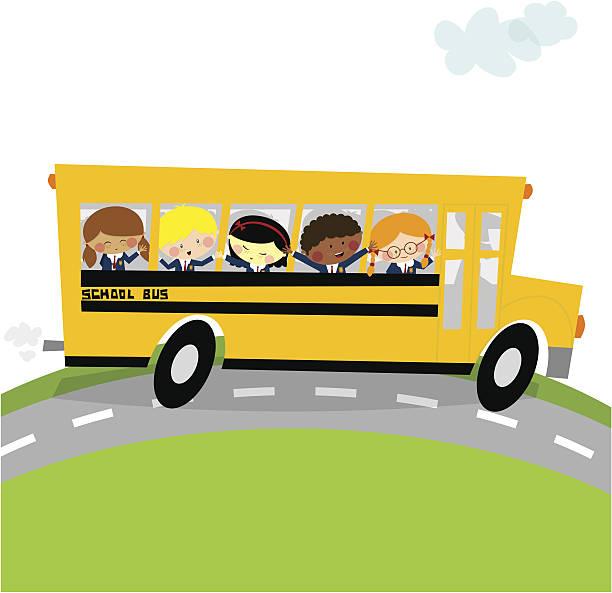 schoolbus ます。新学期には、幸せな子供イラストレーション - スクールバス点のイラスト素材/クリップアート素材/マンガ素材/アイコン素材
