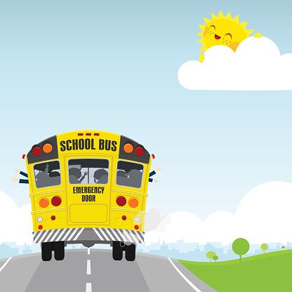 Schoolbus. Back to school, happy kids illustration