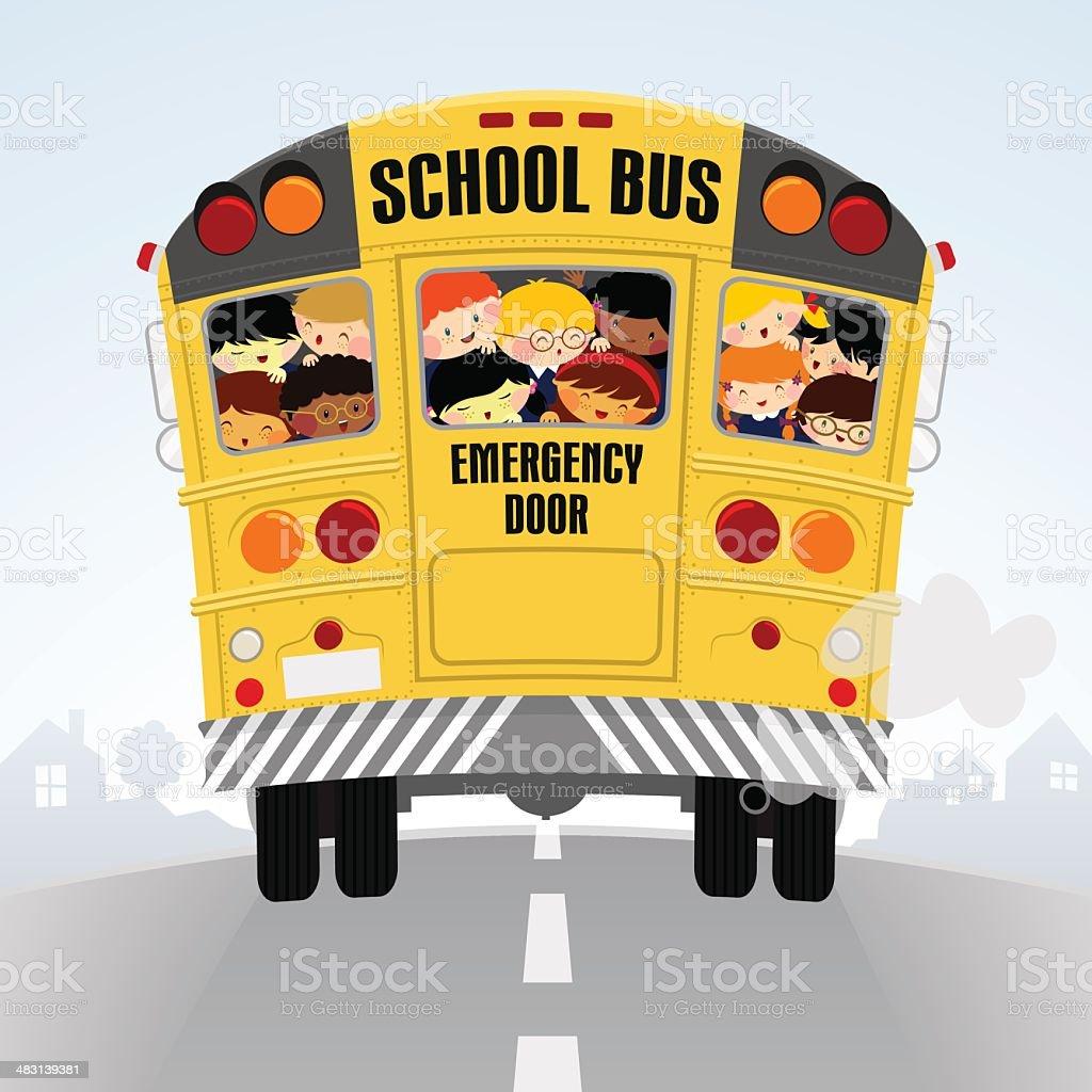 Schoolbus. Volver a la escuela, niños felices ilustración - ilustración de arte vectorial