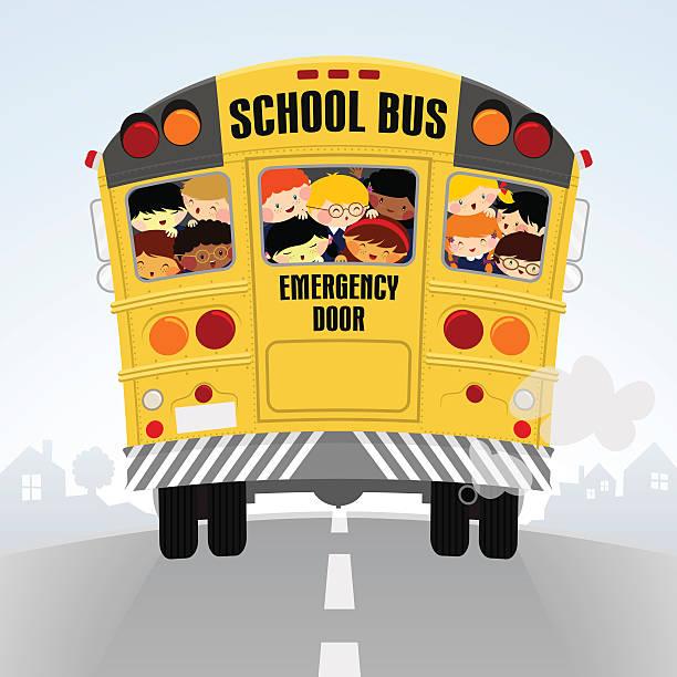ilustraciones, imágenes clip art, dibujos animados e iconos de stock de schoolbus. volver a la escuela, niños felices ilustración - autobuses escolares