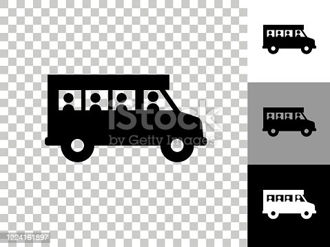 istock Schoolbus Icon on Checkerboard Transparent Background 1224161897