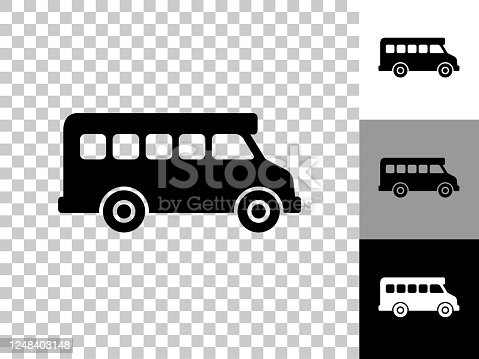 istock Schoolbus Icon on Checkerboard Transparent Background 1248403148