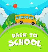 Schoolbus riding  road