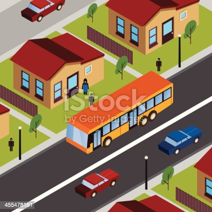 Yellow bus, childs, some cars and houses. A mommy is watching. Sunny morning. Vector illustration. Cartoon tranquil scene, include tree and city lamps.