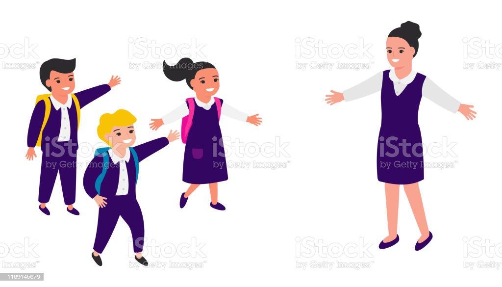 Schoolchildren joyfully greet school teacher, run towards happy...