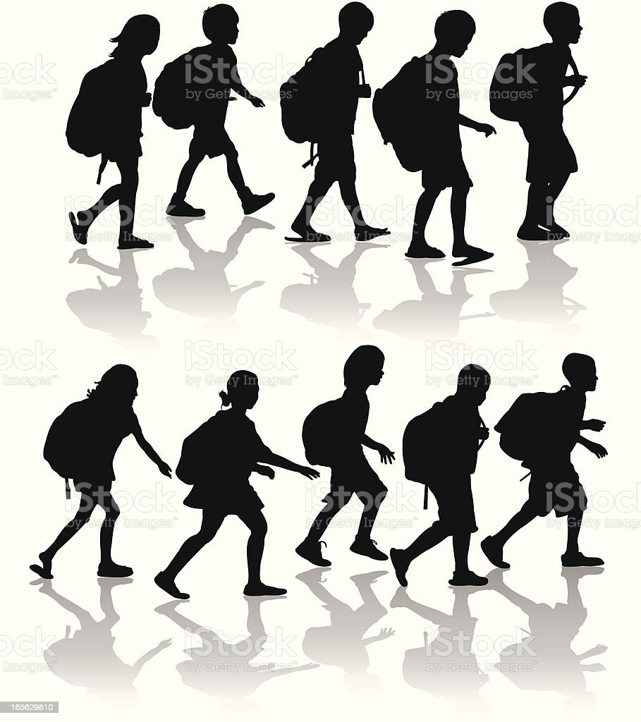 Schoolchildren Silhouette Set vector art illustration