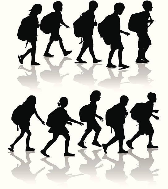 stockillustraties, clipart, cartoons en iconen met schoolchildren silhouette set - schooltas