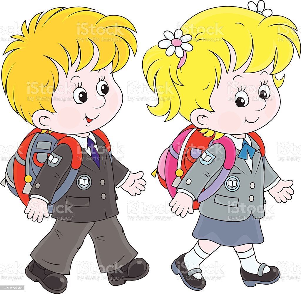 Schoolchildren vector art illustration