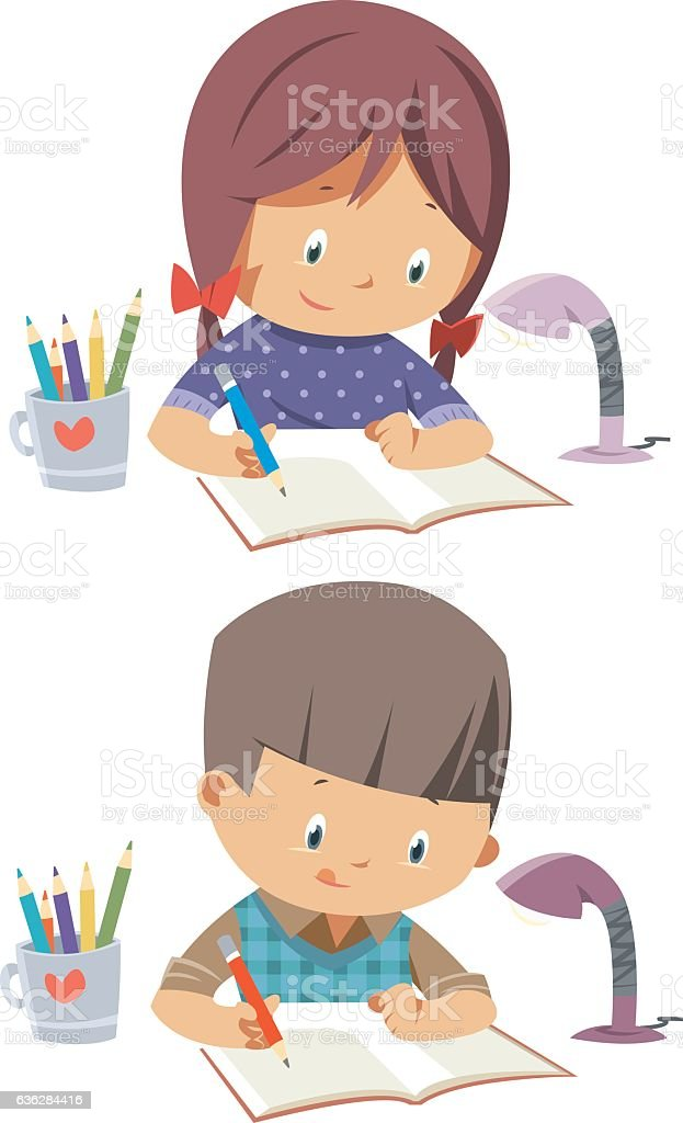 schoolchildren vector art illustration