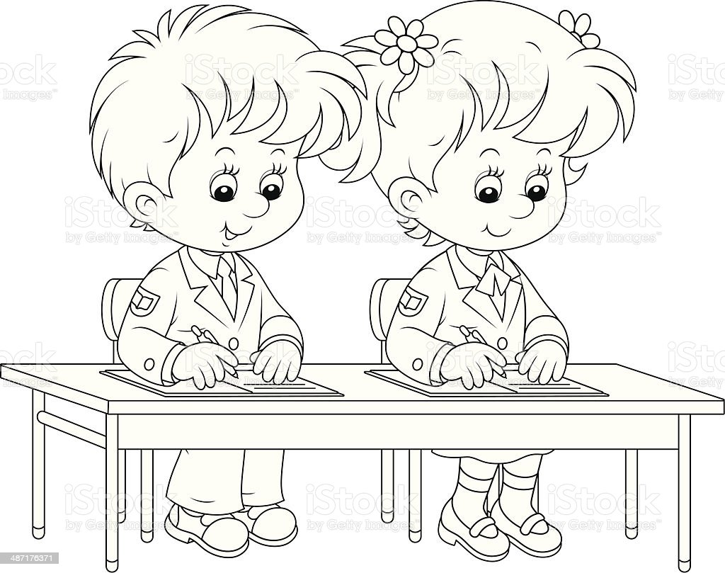 Schoolchildren Writing Stok Vektor Sanati Boyama Kitabi Sayfasi