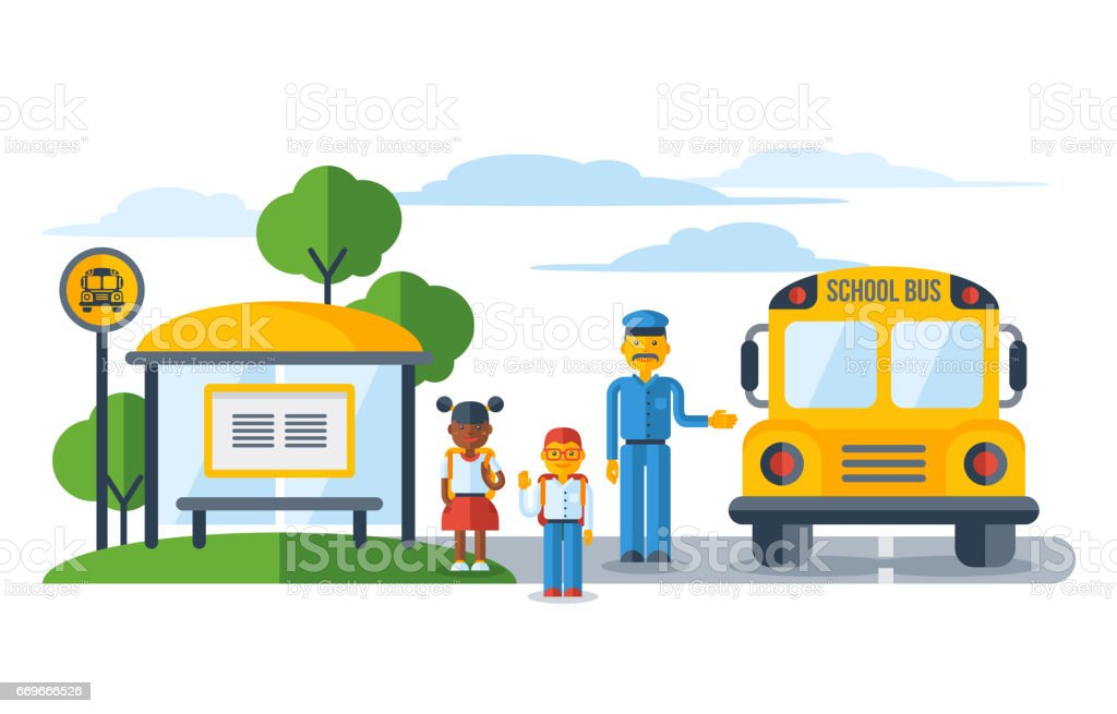 Schoolers getting on yellow schoolbus at bus stop - Illustration vectorielle
