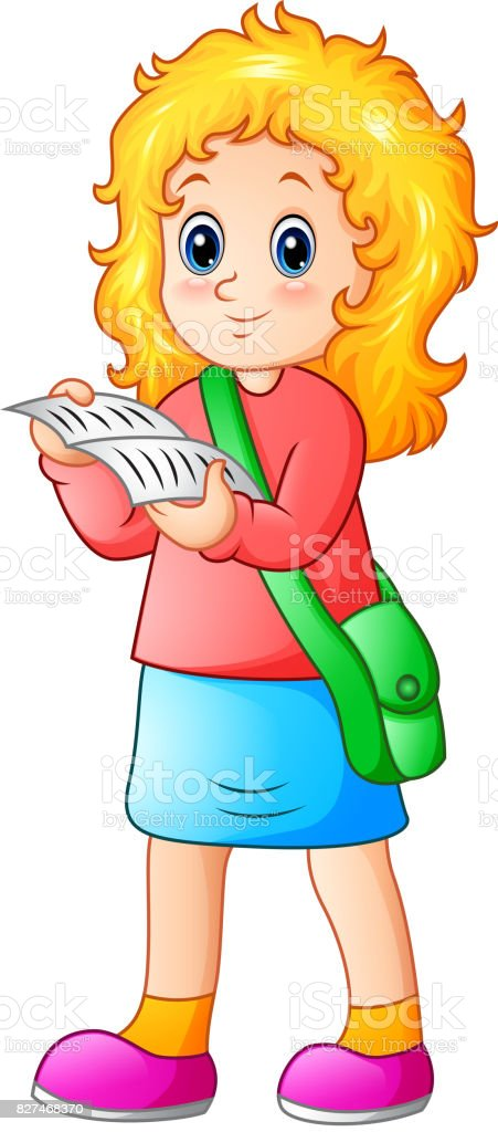Schoolgirl cartoon reading a textbook vector art illustration