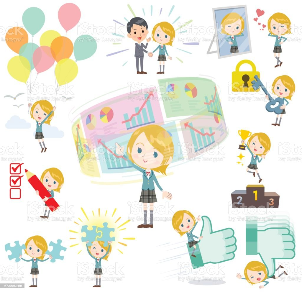Schoolgirl Caucasian success & positive royalty-free schoolgirl caucasian success positive stock vector art & more images of blond hair