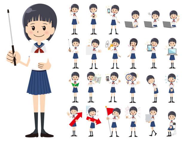 女子高生の文字セット。様々 なアクションを提示します。 - 中学校点のイラスト素材/クリップアート素材/マンガ素材/アイコン素材