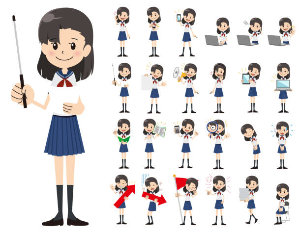 Schoolgirl charactor set. Presenting in various action. vector art illustration