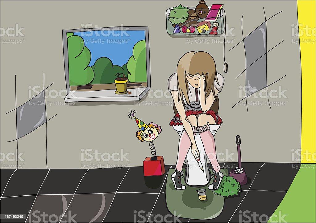 Niña en edad escolar descubrió que la paciente está embarazada - ilustración de arte vectorial