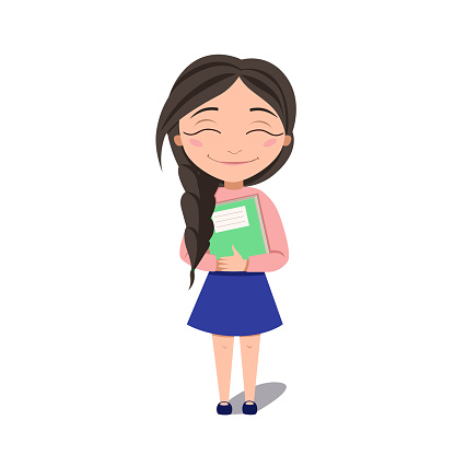A schoolgirl hugs a book. The dark-haired Girl smiles. Vector illustration on a white isolated background. Stock image.