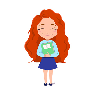 A schoolgirl hugs a book. The red-haired Girl smiles. Vector illustration on a white isolated background. Stock image