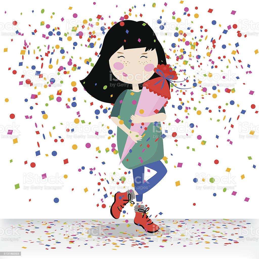 小学生の女の子イラスト お祝いのベクターアート素材や画像を多数ご